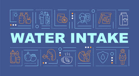 Water consumption word concepts banner. Body fluid level. Daily hydration. Infographics with linear icons on blue background. Isolated creative typography. Vector outline color illustration with text Vektoros illusztráció