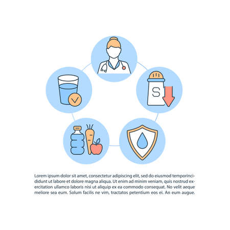 Dehydration treatment concept line icons with text. PPT page vector template with copy space. Brochure, magazine, newsletter design element. Replenish body fluid level linear illustrations on white