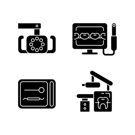 Dental devices black glyph icons set on white space. Lightening oral cavity. Intraoral camera. UV sterilizer box. X-ray equipment. Teeth treatment. Silhouette symbols. Vector isolated illustration