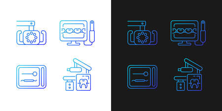 Dental devices gradient icons set for dark and light mode. Lightening oral cavity. Sterilizer box. Thin line contour symbols bundle. Isolated vector outline illustrations collection on black and white Vecteurs