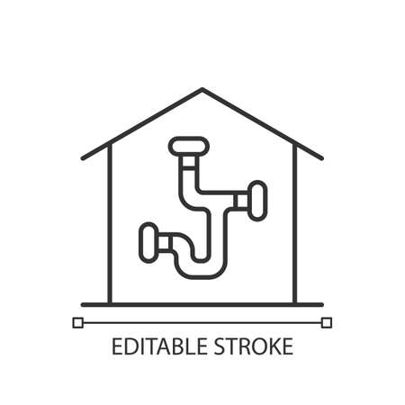 Plumbing system linear icon. Installing pipes and fixtures in house. Well-arranged piping network. Thin line customizable illustration. Contour symbol. Vector isolated outline drawing. Editable stroke