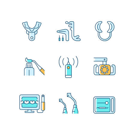Dental check up RGB color icons set. Medical devices. Impression tray. Implant maintenance. Lip retractor. Tooth cleaner. Isolated vector illustrations. Simple filled line drawings collection Vecteurs