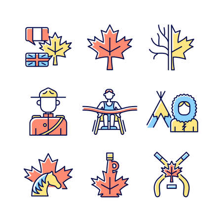 Canadian representation RGB color icons set. Official country symbols. Significant marks of Canada. National heritage. Isolated vector illustrations. Simple filled line drawings collection