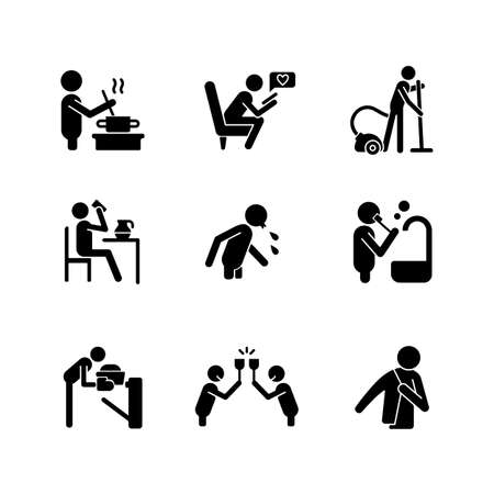 Day-to-day routine black glyph icons set on white space. Activities of daily living. Ordinal human life. Habitual patterns of human behavior. Silhouette symbols. Vector isolated illustration