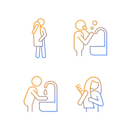 Day-to-day life gradient linear vector icons set. Healthy living. Everyday hygiene procedures. Activities of daily living. Thin line contour symbols bundle. Isolated outline illustrations collection
