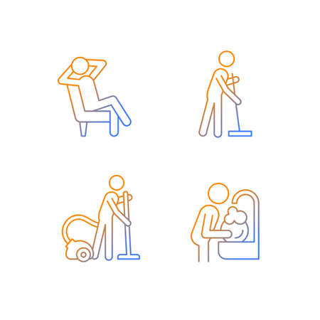 Household chores gradient linear vector icons set. Commonplace day-to-day life. Housekeeping process. Cleaning procedures. Thin line contour symbols bundle. Isolated outline illustrations collection