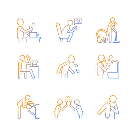 Day-to-day routine gradient linear vector icons set. Activities of daily living. Habitual patterns of human behavior. Thin line contour symbols bundle. Isolated outline illustrations collection