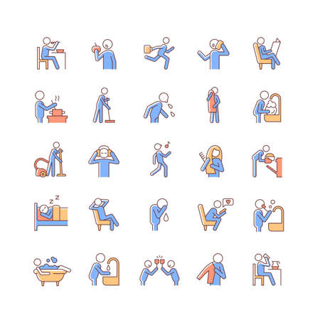 Human behavior RGB color icons set. Activities of daily living. Commonplace household duties. Day-to-day routine. Isolated vector illustrations. Simple filled line drawings collection Vecteurs