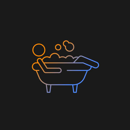 Bathe gradient vector icon for dark theme. Man lying in bath. Personal hygiene activities. Day-to-day human routine. Thin line color symbol. Modern style pictogram. Vector isolated outline drawing