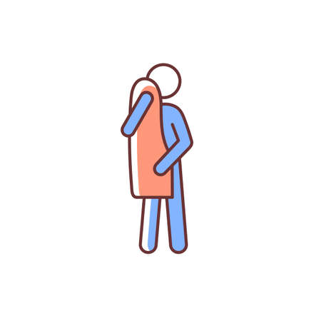 Dry with towel RGB color icon. Taking shower or bath. Maintain cleanliness of body. Healty habit. Commonplace day-to-day human life. Isolated vector illustration. Simple filled line drawing Vecteurs