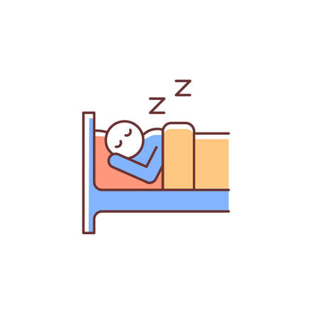 Sleep RGB color icon. Person sleeping soundly in bed. Dreaming man. Commonplace day-to-day human life. Healthy lifestyle, habits, sleep. Isolated vector illustration. Simple filled line drawing