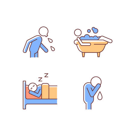 Human actions RGB color icons set. Crying man. Sleeping in bed. Lying in bubble bath. Spitting man. Day-to-day life. Isolated vector illustrations. Simple filled line drawings collection