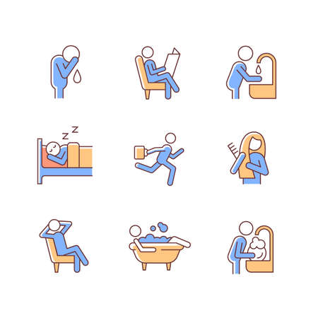 Daily living RGB color icons set. Commonplace day-to-day human life. Spending leisure time. Ordinary household chores. Isolated vector illustrations. Simple filled line drawings collection