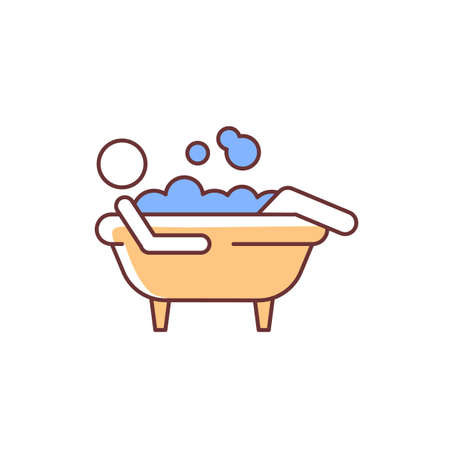 Bathe RGB color icon. Man lying in bubble bath. Personal hygiene activities. Day-to-day human routine. Maintain cleanliness of body. Isolated vector illustration. Simple filled line drawing