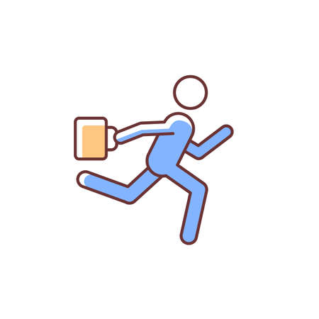 Hurry RGB color icon. Running man with bag in hand. Being late for work, meeting, appointment. Office man running to public transport. Isolated vector illustration. Simple filled line drawing
