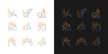 Day-to-day routine gradient icons set for dark and light mode. Activities of daily living. Thin line contour symbols bundle. Isolated vector outline illustrations collection on black and white
