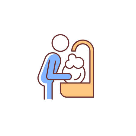 Wash dishes RGB color icon. Man washing dirty dishes in sink. Commonplace household duties, chores. Day-to-day human routine. Isolated vector illustration. Simple filled line drawing