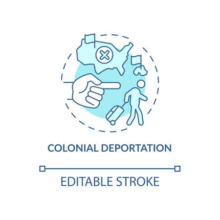 Colonial deportation blue concept icon. Type of official removal. Penal moving to colony. Deportation abstract idea thin line illustration. Vector isolated outline color drawing. Editable stroke