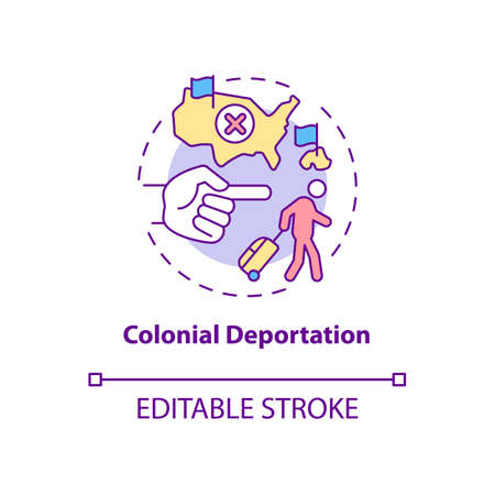 Colonial deportation concept icon. Type of official removal. Penal moving to colony. Deportation abstract idea thin line illustration. Vector isolated outline color drawing. Editable stroke