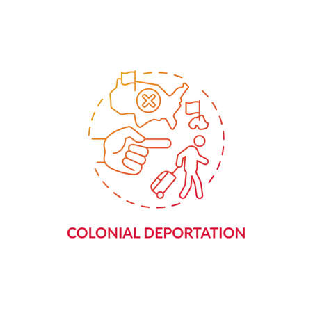 Colonial deportation gradient red concept icon. Type of official removal. Penal moving to colony. Deportation abstract idea thin line illustration. Vector isolated outline color drawing