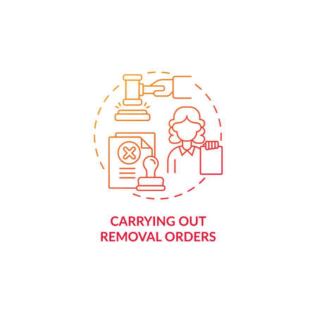 Carrying out removal orders red concept icon. Courthouse case hearing on migration. Deportation procedure abstract idea thin line illustration. Vector isolated outline color drawing