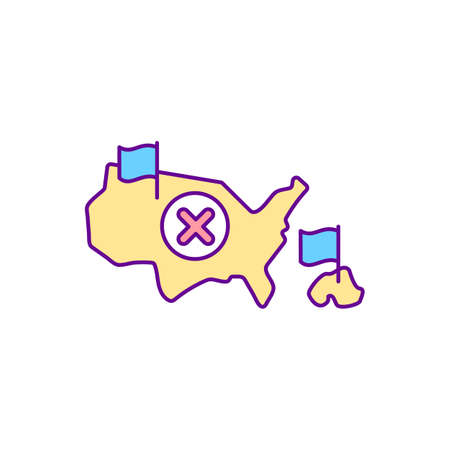Penal colony RGB color icon. Distant settlement for deportation. Type of official removal from residence. Border entry denied. Isolated vector illustration. Simple filled line drawing