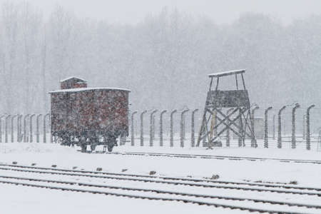 Auschwitz, Lesser Poland  Poland - Feb 04 2018: Auschwitz Birkenau, Nazi concentration and extermination camp, carriage at the Judenrampe platform.