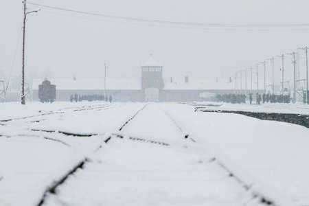 Auschwitz, Lesser Poland  Poland - Feb 04 2018: Auschwitz Birkenau, Nazi concentration and extermination camp.