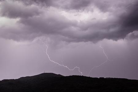 lightning strike during a thunderstorm.