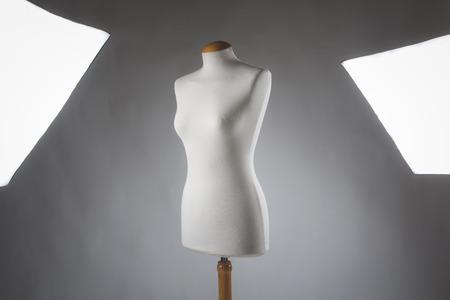 female mannequin and studio lights