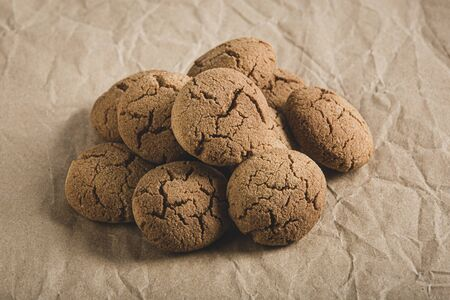 Chestnut cookies on brown background