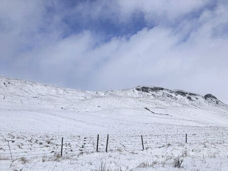 Scottish snowy mountain landscape. Cairngorms National Park, Scotland..