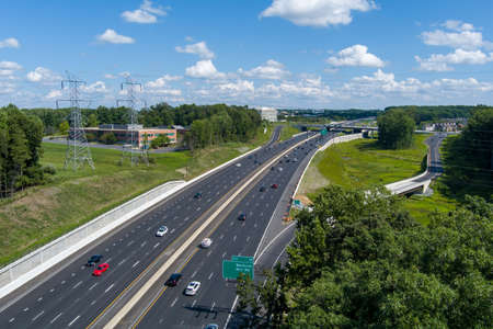 Aerial view of Interstate 270 at the Watkins Mill Road interchange in Gaithersburg, Montgomery County, Maryland.