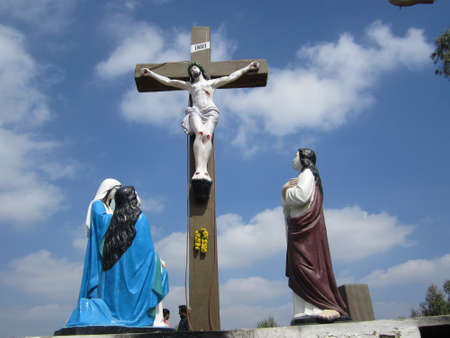 crus: Statue of Lord Jesus, WhiteField, Bangalore Stock Photo