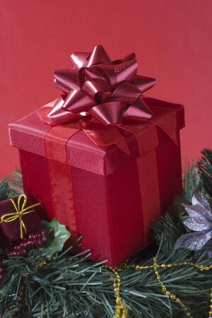 Gift box on a Christmas tree Imagens