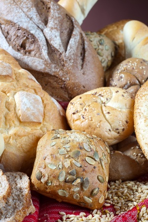 Heap of different types of bread