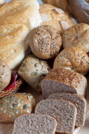 Heap of assortment of bread one over another