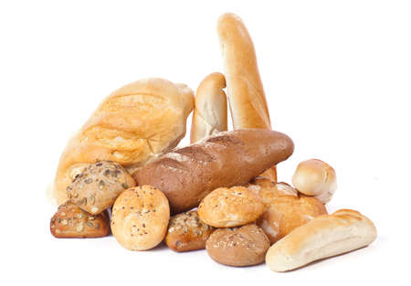 Heap of bread on white background