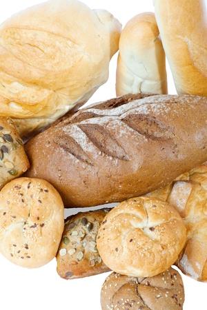 Montón de pan en el fondo blanco Foto de archivo - 22037586