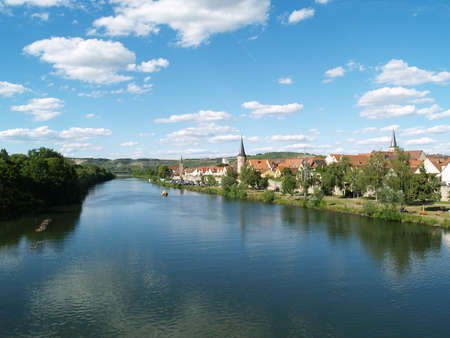 river main: River landscape in Karlstadt at the river called Main