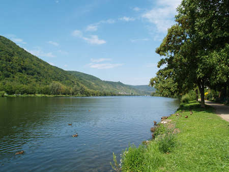 mosel: River promenade at the river called Mosel Stock Photo