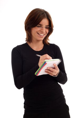 blithe: Image of a young woman holding a note-book and pen