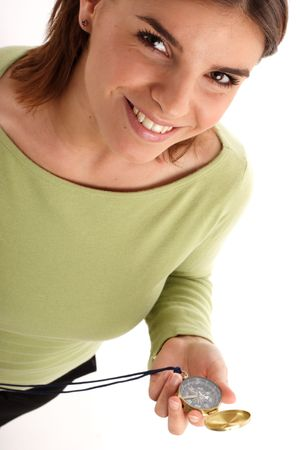 percept: Happy young woman holding compass