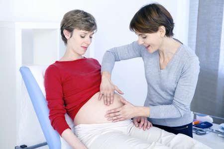 Abdomen Palpation Pregnant Woman LANG_EVOIMAGES