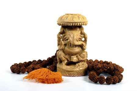 Ganesha with Prayer Beads Stock Photo