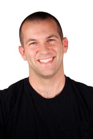 rostro hombre: Un hombre guapo con una feliz expresi�n delante de un fondo blanco.