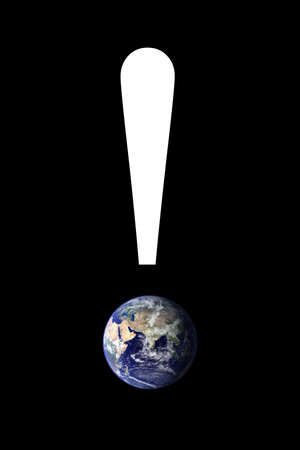 An exclamation point with an image of the earth. Earth image courtesy of NASA: Visible Earth - http:visibleearth.nasa.gov Stock Photo
