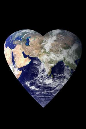 An image of the earth shaped as a heart. Earth image courtesy of NASA - Visible Earth: http:visibleearth.nasa.gov Stock Photo