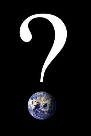 Znak zapytania z obrazu Ziemi. ZdjÄ™cie Ziemi wykonane przez NASA - widoczne Earth: http:visibleearth.nasa.gov Zdjęcie Seryjne