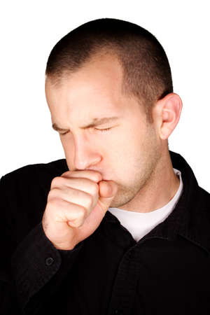 A man coughing in front of a white background. photo